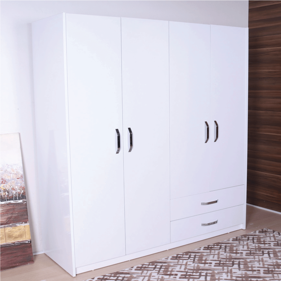 wardrobe 4 doors 2 drawers white