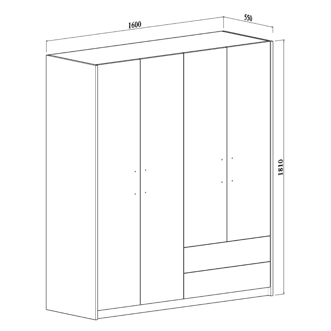 wardrobe 4 doors 2 drawers