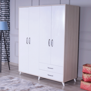 wardrobe 4 doors 2 drawers white cream