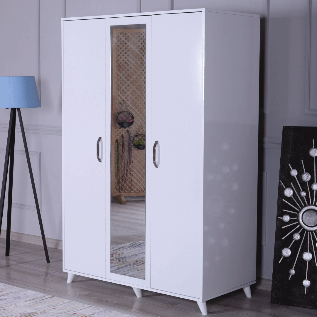 wardrobe 3 doors mirror white