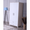 wardrobe 2 doors 2 drawers white cream