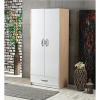 wardrobe 2 doors drawer white cream