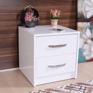 nightstand 2 drawers white
