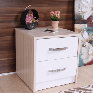 nightstand 2 drawers white cream